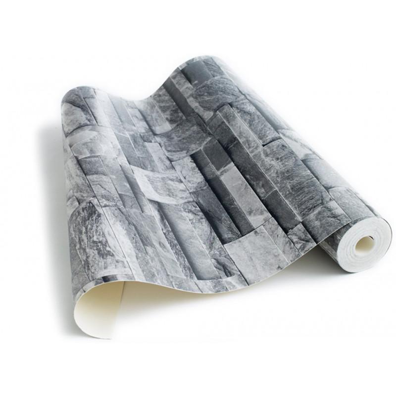 papier peint pierre de parement grise. Black Bedroom Furniture Sets. Home Design Ideas