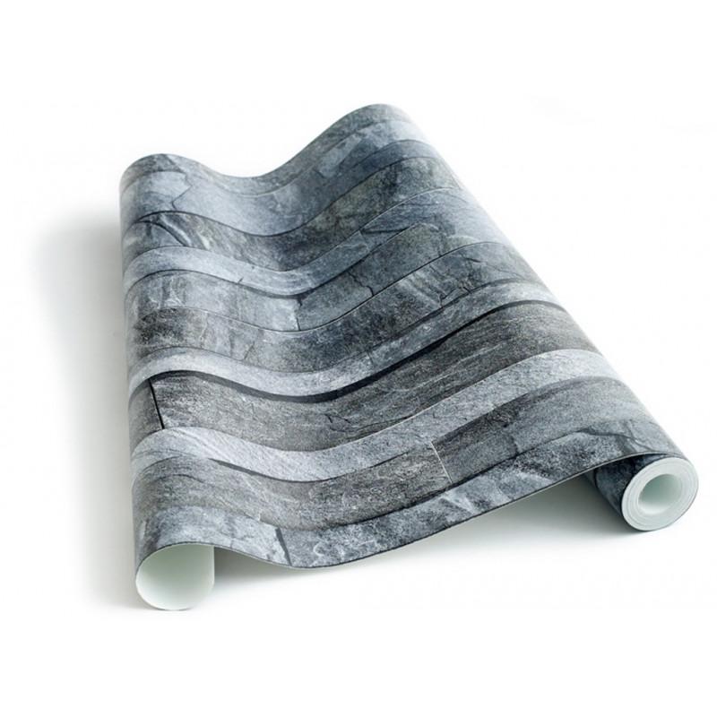 papier peint ardoise grise en lamelles. Black Bedroom Furniture Sets. Home Design Ideas
