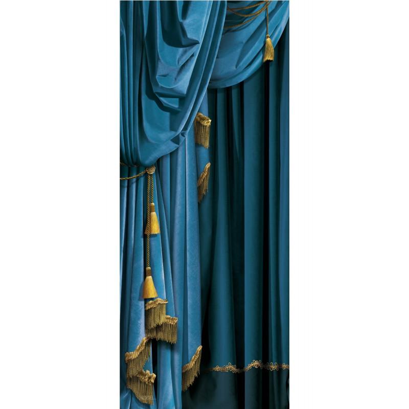 costume de portes et murs en velours rideau bleu gauche. Black Bedroom Furniture Sets. Home Design Ideas