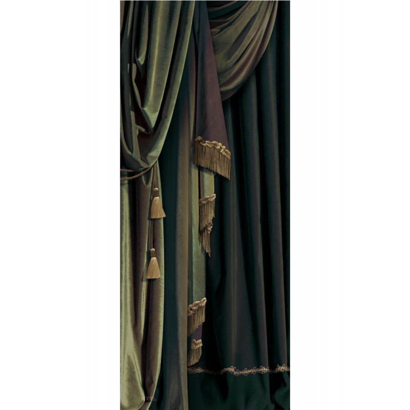costume de portes et murs en velours rideau vert gauche. Black Bedroom Furniture Sets. Home Design Ideas