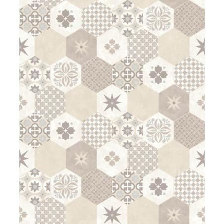 Papier Peint Carreaux De Ciment Hexagone Beige