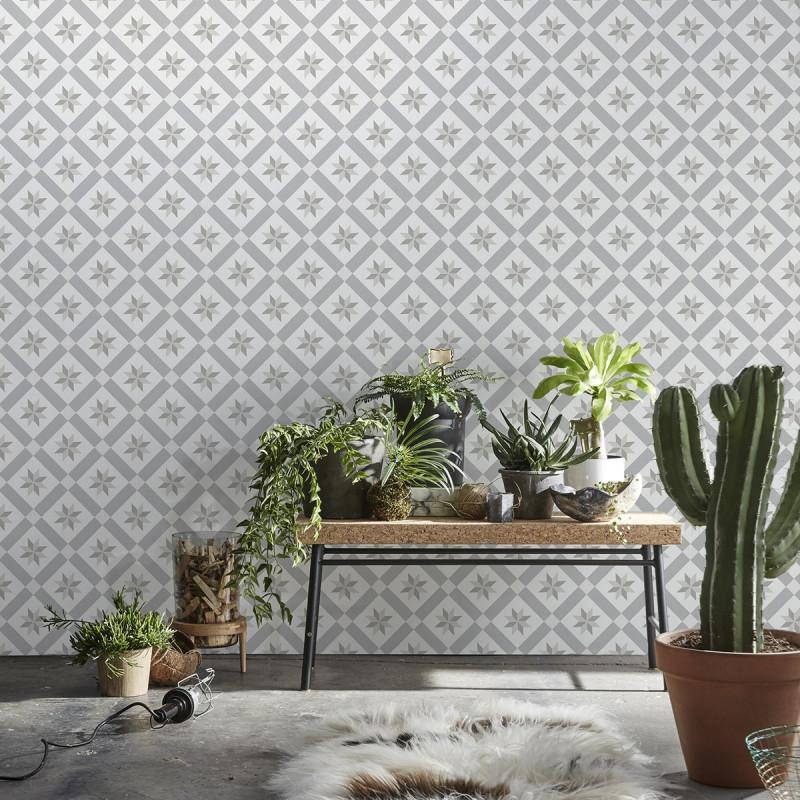 papier peint carreaux de ciment gris. Black Bedroom Furniture Sets. Home Design Ideas