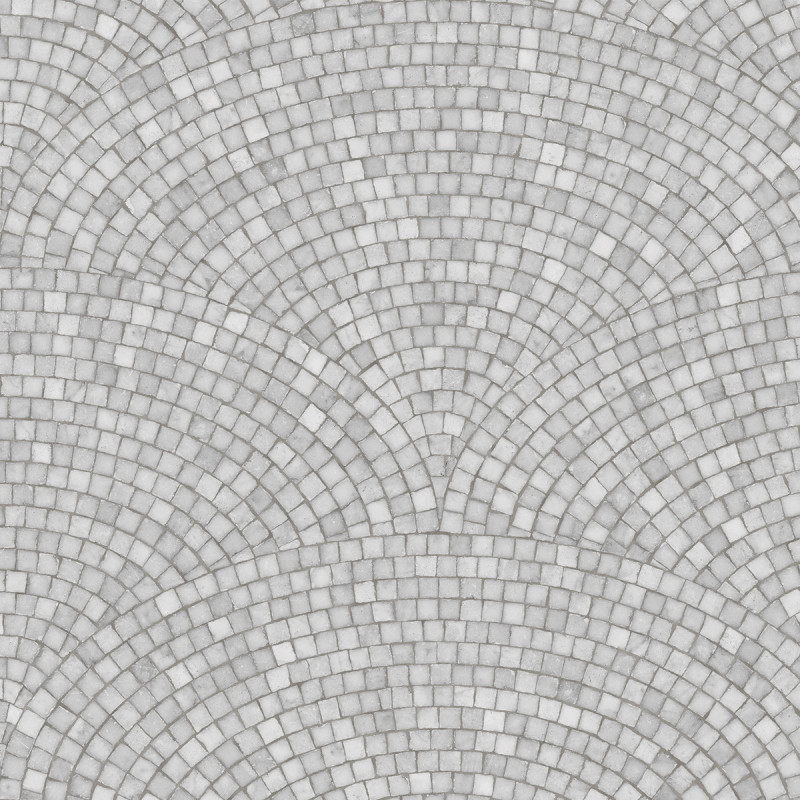 Sample Art Deco Mosaic Wallpaper Light Grey