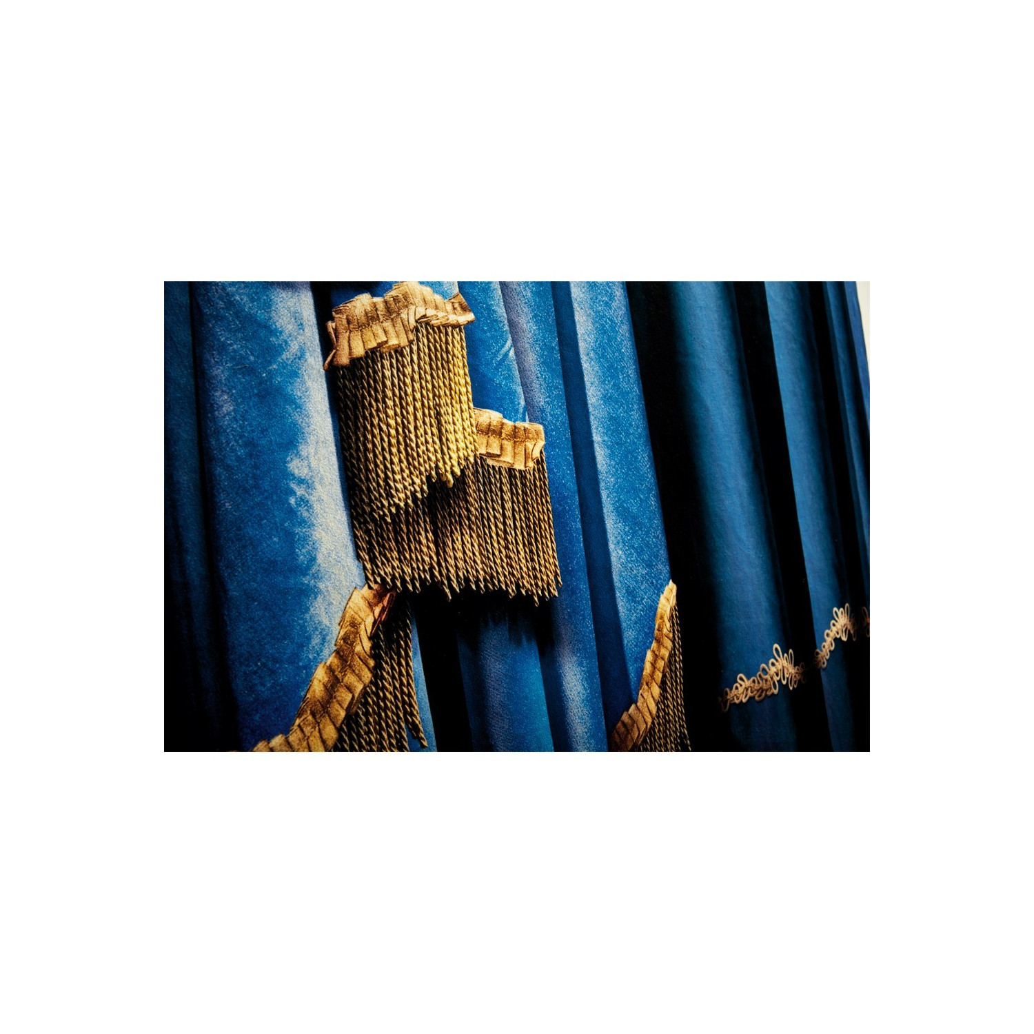 Velvet tapestry Left blue curtains