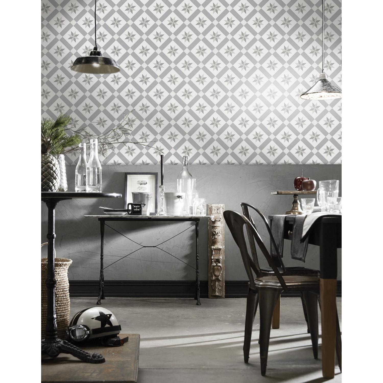 Tapisserie Carreaux De Ciment papier peint carreaux de ciment gris