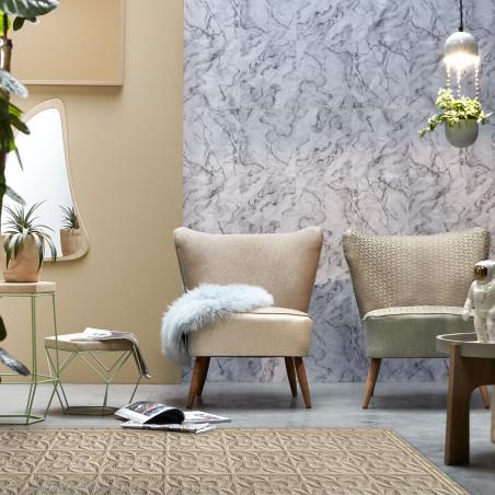 Beige antic tin tiles vinyl rug Emilia - Wide size