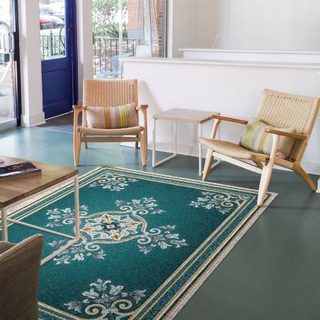 Blue vinyl mosaic rug Alma XL