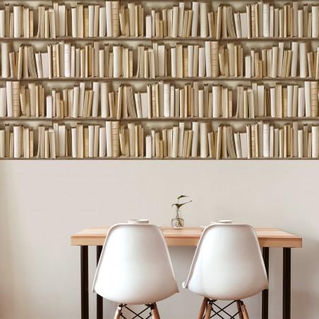 Ivory bookshelves wallpaper