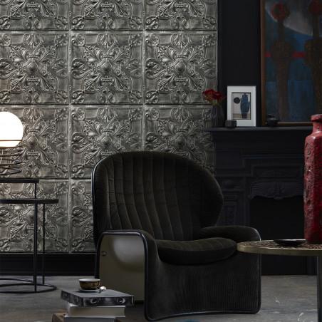 Antique silver tin tiles wallpaper (001D33X6)