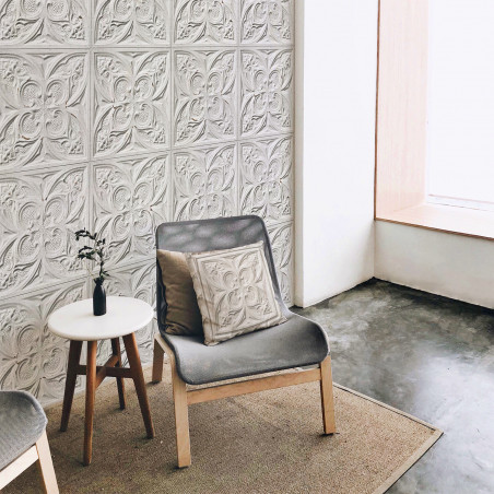 Antique white tin tiles wallpaper (013P01X6)