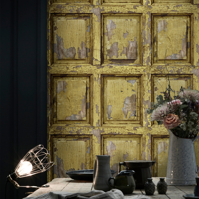 English Antique Wood Paneling Wallpaper Yellow Curry