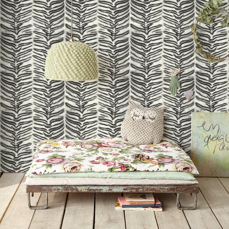 papier peint fourrure tigr noir et blanc. Black Bedroom Furniture Sets. Home Design Ideas