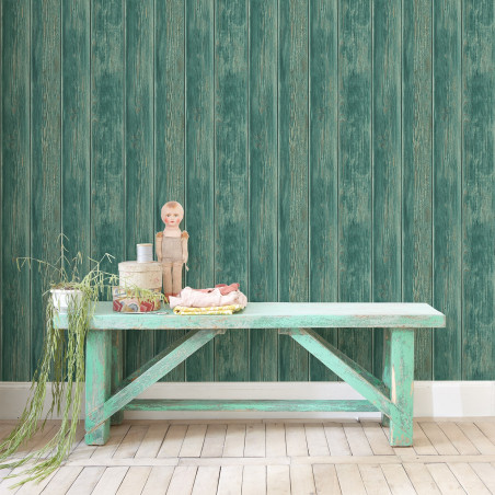 Green vintage cladding wallpaper
