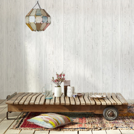 White vintage cladding wallpaper