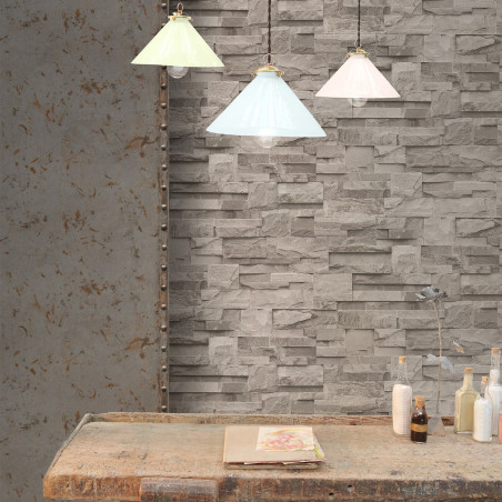 Grey Stone Chequerboard Wallpaper