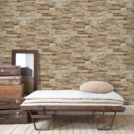 Brown Stone Chequerboard Wallpaper
