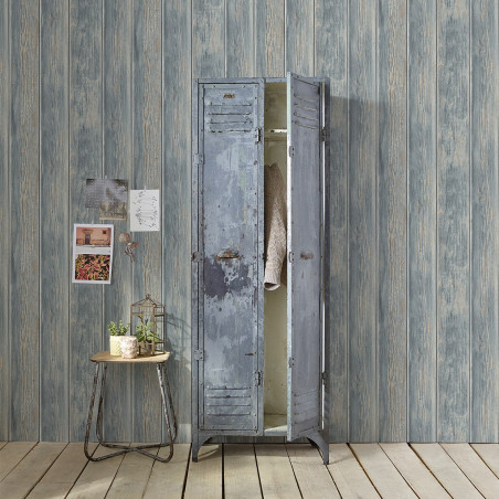 Ash blue vintage cladding wallpaper