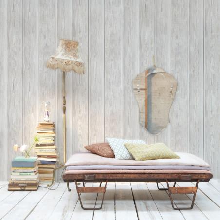 Papier peint Bois de bardage vintage gris clair