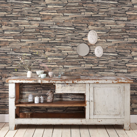 Rustic stone wall wallpaper - Brown