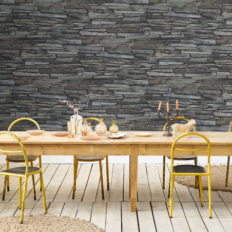 Rustic stone wall wallpaper - Gray