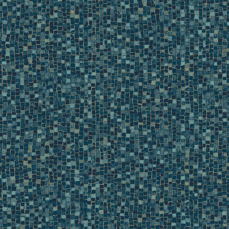 Dark blue mosaic wallpaper