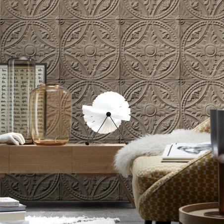 Antique taupe grey tin tiles wallpaper (012P07X6)