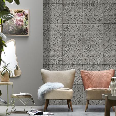 Antique light grey tin tiles wallpaper (012P05X6)