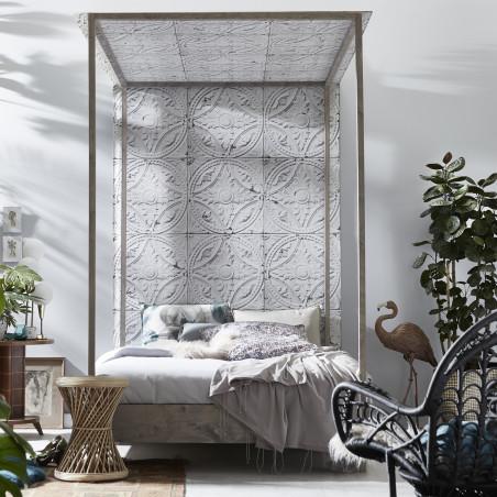 Antique white tin tiles wallpaper (012P01X6)