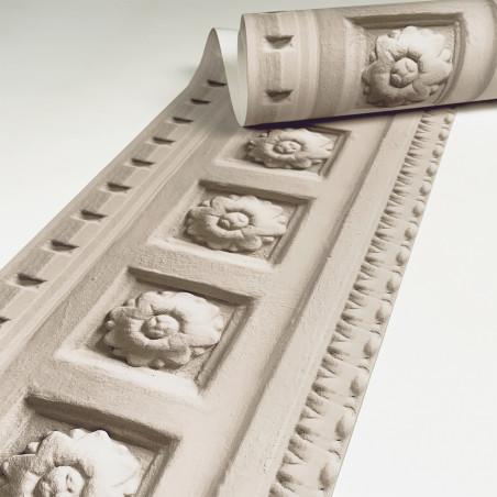 Beige Louis XIV molded frieze wallpaper