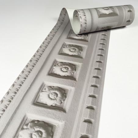 Warm Grey Louis XIV molded frieze wallpaper