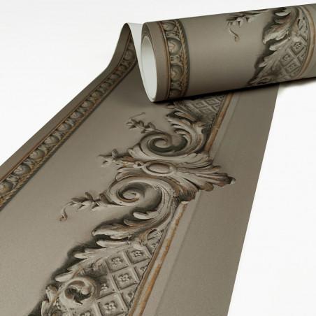 Grey Haussmannian frieze wallpaper with volutes