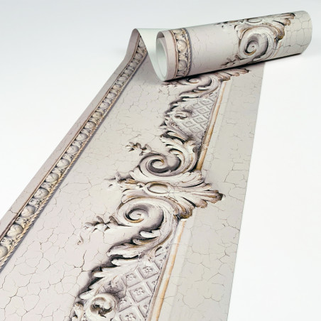 Haussmannian frieze wallpaper with beige cracked volutes  400 x 26,5 cm