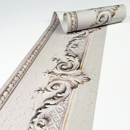 Haussmannian frieze wallpaper with beige cracked volutes  400 x 26,5 cm