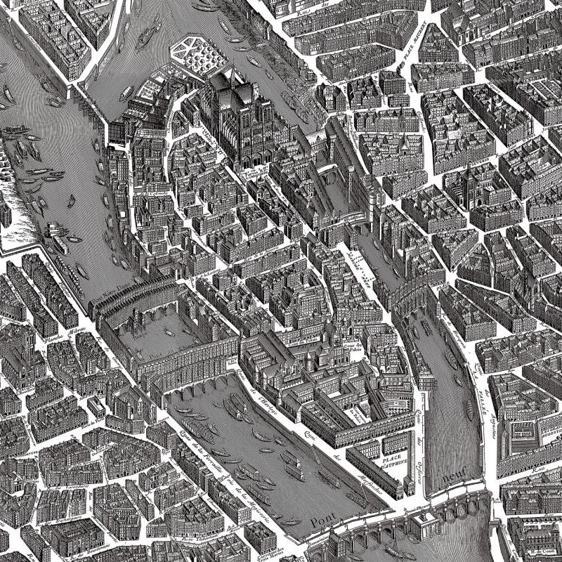 Papier peint panoramique Plan de Paris zoom