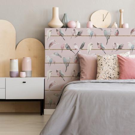 Papier peint les inséparables sur fil - rose pâle