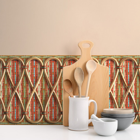 Philippe Model woven rattan frieze with red and blue stripes