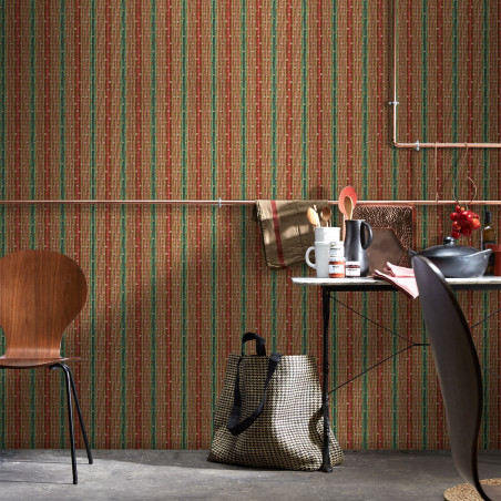 Philippe Model braided wallpaper with red and green stripes