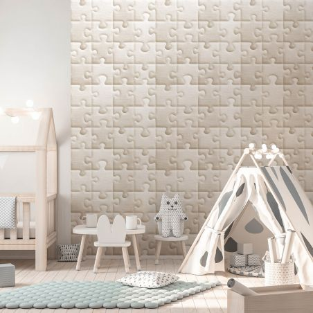 Raw jute-fabric giant puzzle wallpaper