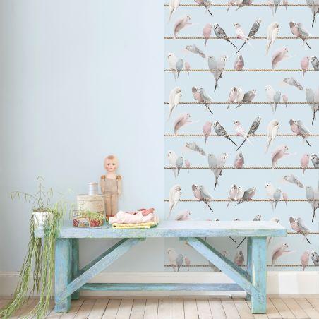 Lovebirds wallpaper - sky blue
