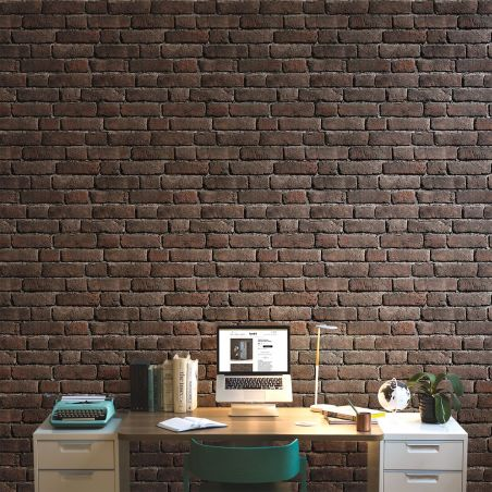 Ash red old brick wallpaper