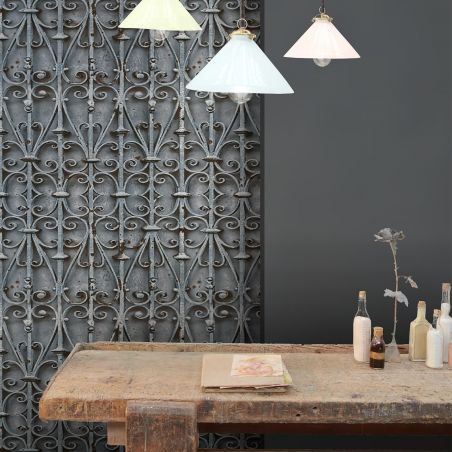 Blue Forged Iron Volute Wallpaper
