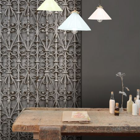 Grey Forged Iron Volute Wallpaper