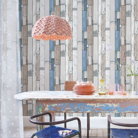 White and blue pallet wood wallpaper
