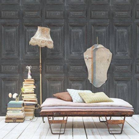Bucolic wood paneling wallpaper - gray