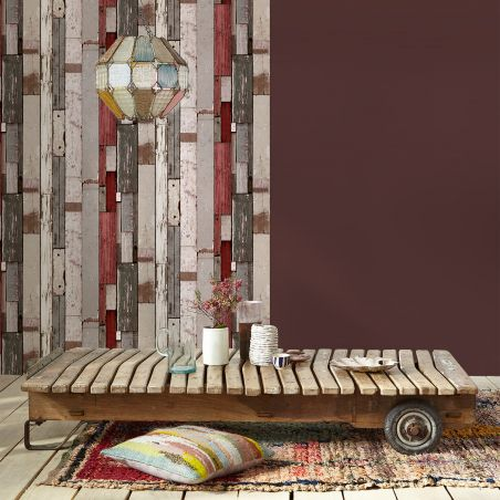 Grey and red pallet wood wallpaper