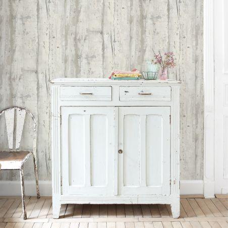 Papier peint bois patiné blanc