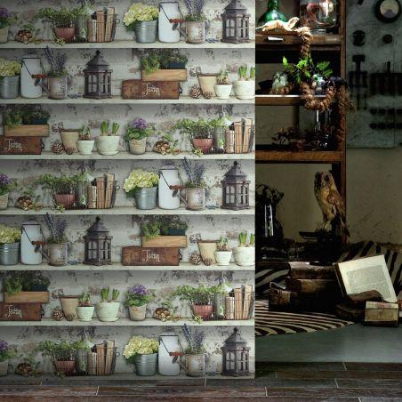 Papier peint étagères d'abri de jardin