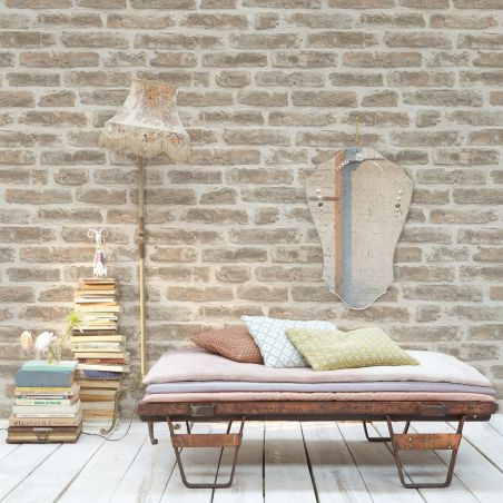 Urban brick wallpaper - beige