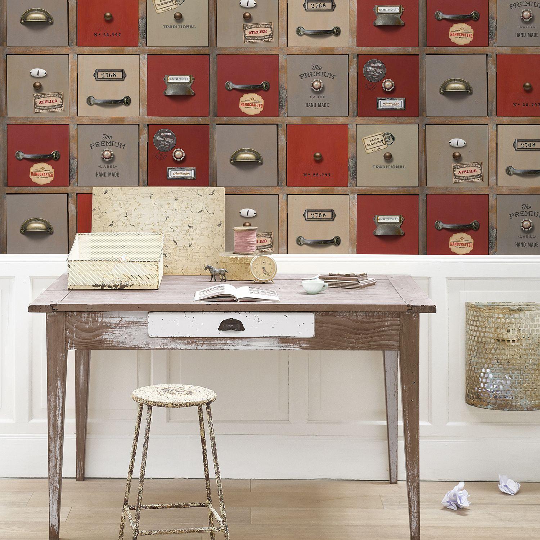 Papier Peint Style Atelier papier peint tiroirs rétro d'atelier rouge
