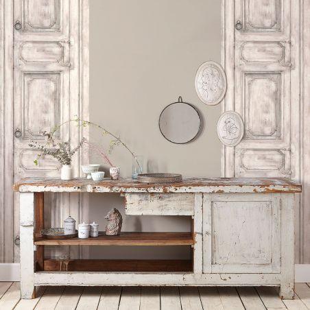 Off-white molded furniture door wallpaper